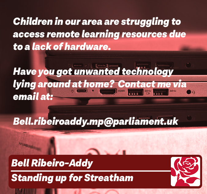Press Release – Streatham MP Launches Laptop Donation Drive for Local Schools