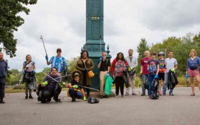 Joining litter pickers at Brockwell Park