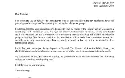 Letter to the Health Secretary – 10th September 2020